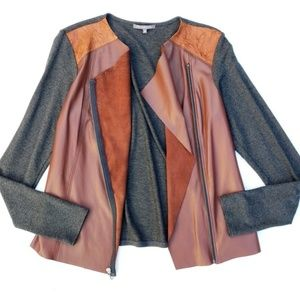 Michael Stars Leather Knit Mix Moto Slouchy Jacket